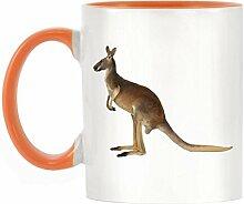 Känguru Bild Design zweifarbige Becher mit orangefarbenen Griff & Innen