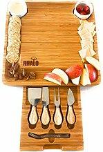 Käsebrett aus Bambus mit Besteck Set -