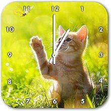 Kätzchen jagt schmetterling, Wanduhr Durchmesser