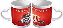 Kaffe Tasse Küche Popcorn Kino Henkel in Herzform
