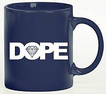 Kaffee Becher bedruckte Tasse der Marke ShirtStreet24 mit Dope Motiv, Größe: onesize,blau