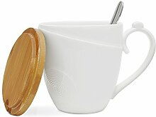 Kaffee Becher mit Deckel und Löffel, 77L Kaffeebecher aus Keramik mit Deckel aus Bambus und Keramik Löffel–Keramik Milch, Tee Tassen-Set mit Löffel und Deckel für Home Office–350ml (12,3oz, 1,46Cup), weiß