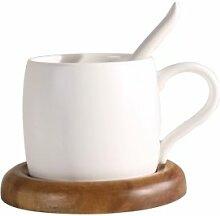 Kaffee Becher mit Löffel Mark Tasse mit Holz Matte Schwarz Matt Keramik weiß