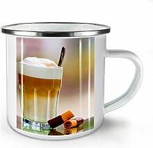 Kaffee Bild Foto Essen Weiß Emaille-Becher 10 oz | Wellcoda