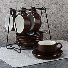 Kaffee-haferl Set kreative Keramik Teller-braunC