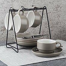 Kaffee-haferl Set kreative Keramik Teller-Grau