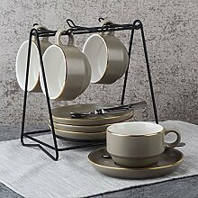 Kaffee-haferl Set kreative Keramik Teller-GrauB