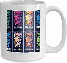 Kaffee-Haferl Tee Cupset Surfen Palmen Design