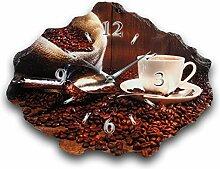 Kaffee Luxus Designer Wanduhr Funkuhr aus Schiefer *Made in Germany leise ohne ticken WS215FL