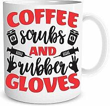 Kaffee Peelings und Gummihandschuhe - Gag