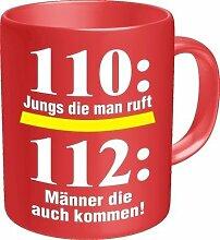 Kaffee Tasse Becher - 110: Jungs die man ruft 112: Männer die kommen - Feuerwehr - einzeln im Geschenk Karton - zum Geburtstag