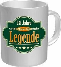Kaffee Tasse Becher - 18 Jahre und schon lebende Legende (5 Sterne) - einzeln im Geschenk Karton - zum Geburtstag