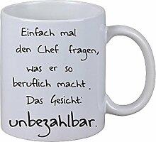 Kaffee Tasse Becher Einfach mal den Chef fragen Beruflich Geschenk Fun Spass