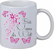 Kaffee Tasse Beste Mama der Welt Schmetterling Floral Weihnachten Muttertag