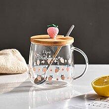 Kaffee Tasse Geschenk 3D Deckel Cartoon Erdbeere