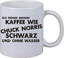 Kaffee Tasse Ich trinke meinen Kaffee wie Chuck Norris - schwarz und ohne Wasser