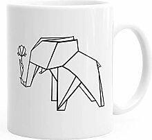 Kaffee-Tasse Origami Elefant mit Rose Polygon