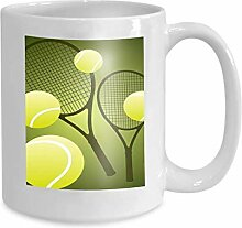 Kaffee Tee Becher Cup Tennis Elements Leaf