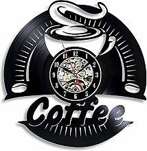 Kaffee Vinyl Schallplatte Wanduhr Modernes Design