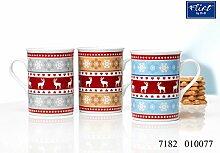 Kaffeebecher 280ml sortiert 6er Set Alpenweihnach