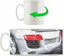 Kaffeebecher Audi R8 Heckansicht rotes Licht