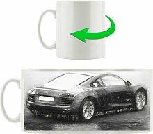 Kaffeebecher Audi R8 schwarz Heckansicht