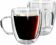 Kaffeebecher aus Borosilikatglas, doppelwandig,