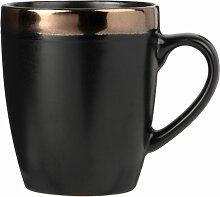 Kaffeebecher aus Fayence, schwarz