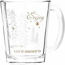 Kaffeebecher aus Glas mit Waldmotiv bedruckt