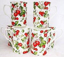 Kaffeebecher aus Porzellan mit Erdbeerfeld-Motiv,