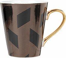 Kaffeebecher aus schwarzem Porzellan mit