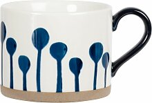 Kaffeebecher aus weißer Fayence, bedruckt mit