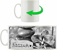 Kaffeebecher Auszeit Orchidee mit Zen Steinen
