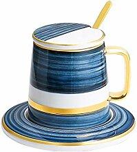 Kaffeebecher Becher mit Deckel Löffel