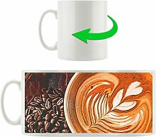 Kaffeebecher Cappuccino mit Kaffeebohnen