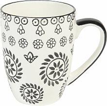 Kaffeebecher CHIANG MAI aus Keramik, schwarz/ weiß