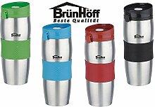 Kaffeebecher Coffee to go Thermo-Becher Edelstahl Isolierbecher 380 ml BrünH-S44 (SCHWARZ-SILBER)
