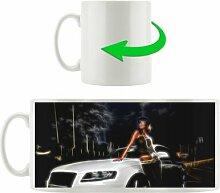 Kaffeebecher Dark Frau an Audi Rauch
