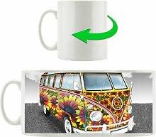 Kaffeebecher Flower Power Hippie VW Bus