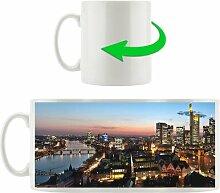 Kaffeebecher Frankfurt Skyline bei Sonnenaufgang