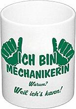 Kaffeebecher - Ich bin Mechanikerin, dunkelgrün
