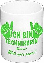 Kaffeebecher - Ich bin Technikerin, apfelgrün