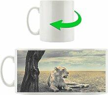 Kaffeebecher Löwin Ruhe Savanne