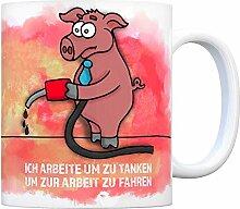 Kaffeebecher mit Armes Schwein Motiv und Spruch: