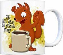 Kaffeebecher mit Eichhörnchen Motiv und Spruch: