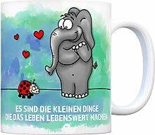 Kaffeebecher mit Elefant und Marienkäfer Motiv