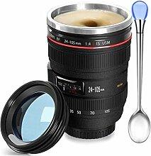 Kaffeebecher mit Kameralinse, lustiges