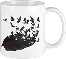 Kaffeebecher mit Krähe aus feinem Porzellan,