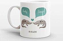 Kaffeebecher mit Krokodil-Motiv, personalisierbar,