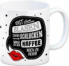 Kaffeebecher mit Kuss Motiv und Kaffee Spruch: